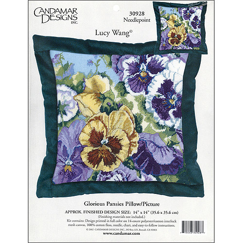 "Glorious Pansies Needlepoint Kit, 14"" x 14"" Stitched In Floss"