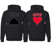 King Queen Classic Spades Hearts Cards Logo His and Hers Matching Couples Hoodies Sweater Set, Black, Mens S-Womens S