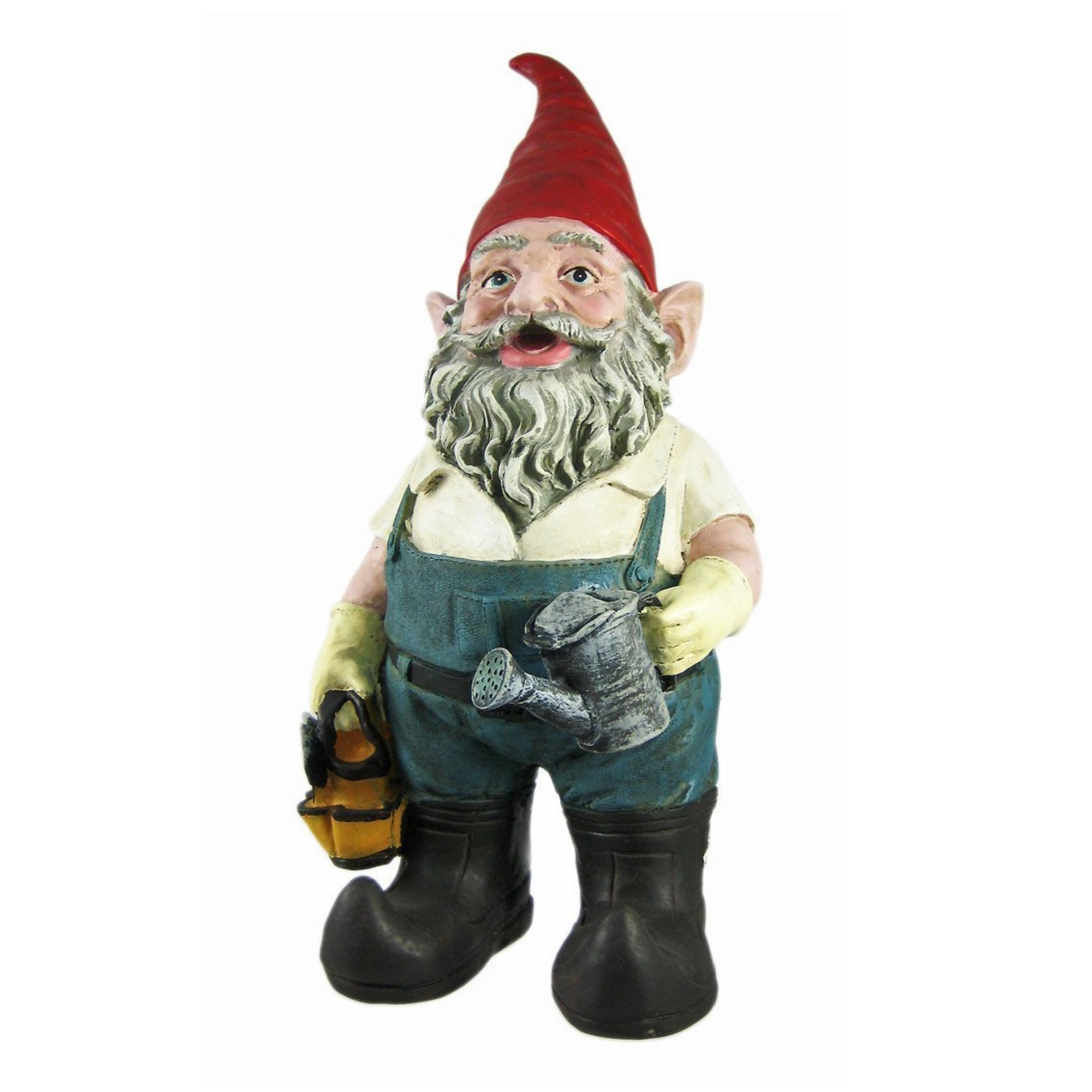 """Nowaday Gnomes - Gardener Gnome Holding a Watering Can and Garden Tool Bag Home & Garden Gnome Statue 14""""H"""