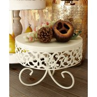 Decmode - Large, Round White Metal Cake Stands with Vine Accent & Scrolled Feet, Set of 3