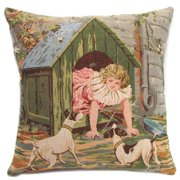 Corona Dcor Corona Decor French Woven Girl and Doghouse Design Cotton and Wool Decorative Throw Pillow
