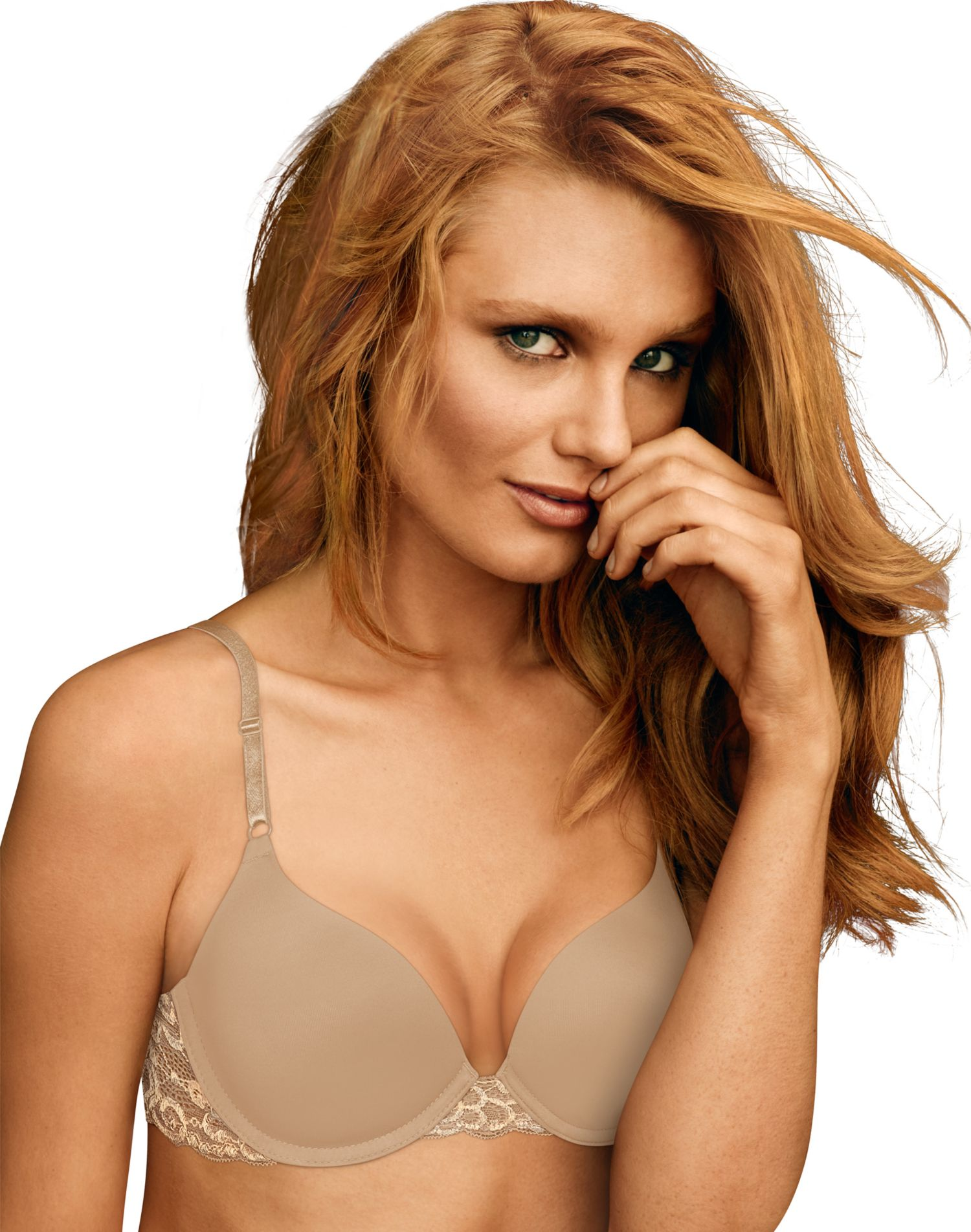 Maidenform Womens One Fab Fit Push Up Bra 2-Pack, 38D, White/Body Beige