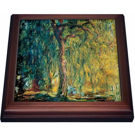 3dRose Picture Of Monets Painting Weeping Willow, Trivet with Ceramic Tile, 8 by 8-inch