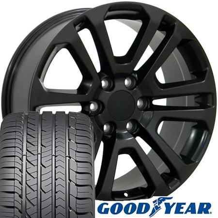 OE Wheels 22 Inch | Fit Chevy Silverado Tahoe GMC Sierra Yukon Cadillac Escalade | CV99 Satin Black 22x9 Rims, Goodyear Eagle All Season Tires, Lugs, TPMS |