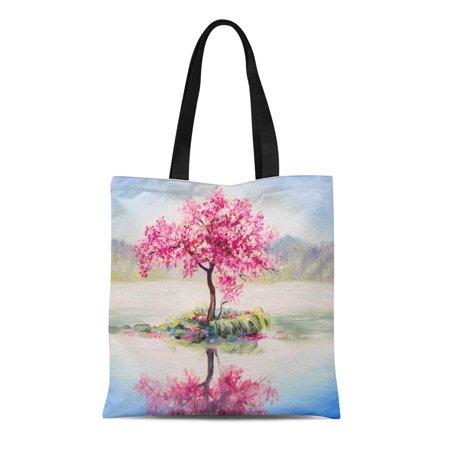 ASHLEIGH Canvas Tote Bag Watercolor Oil Painting Landscape Oriental Cherry Tree Sakura Lake Durable Reusable Shopping Shoulder Grocery Bag