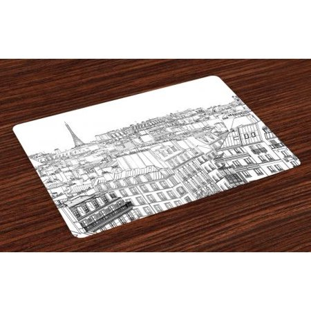 Paris Placemats Set of 4 Architecture Theme Design Illustration of Roofs in Paris and Eiffel Tower Print, Washable Fabric Place Mats for Dining Room Kitchen Table Decor,Black and White, by Ambesonne](Paris Themed Table Decorations)