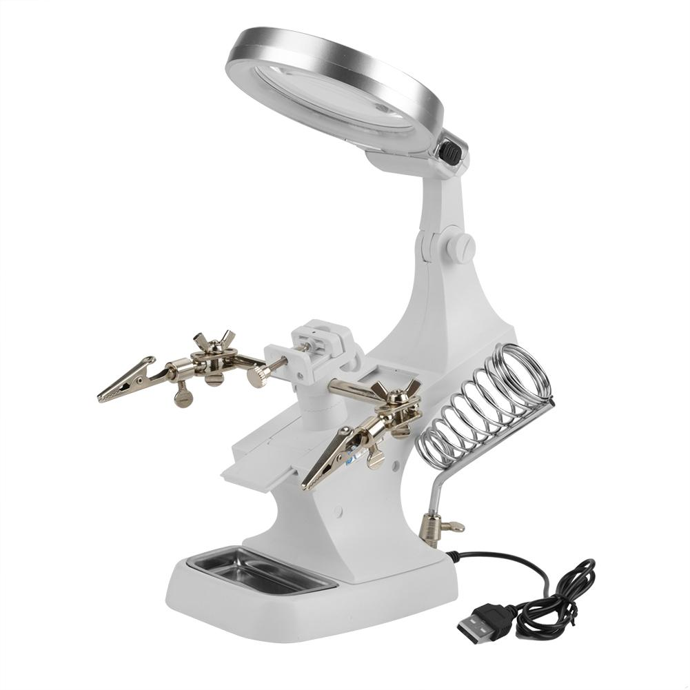 Tbest Repair Magnifier With Led Light Tabletop Magnifying Glass Clamp Stand Soldering Weld Holder, Stand Soldering Weld Holder, Magnifying Glass Clamp
