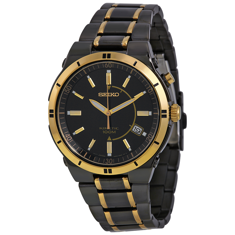 Seiko Kinetic Black Dial Two-Tone TiCN-Plated Steel Mens ...