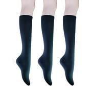 Women's Cotton Knee High Socks - Casual Solid & Triple Stripe Colors Fashion Socks 3 Pairs (Women's Shoe Size 5-9)