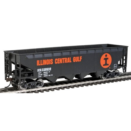 Offset Hopper - Ready to Run -- Illinois Central (Orange, Black, White- Large Logo) HO Scale, Perfect for every HO railroad  By Walthers (Illinois Central Hopper)