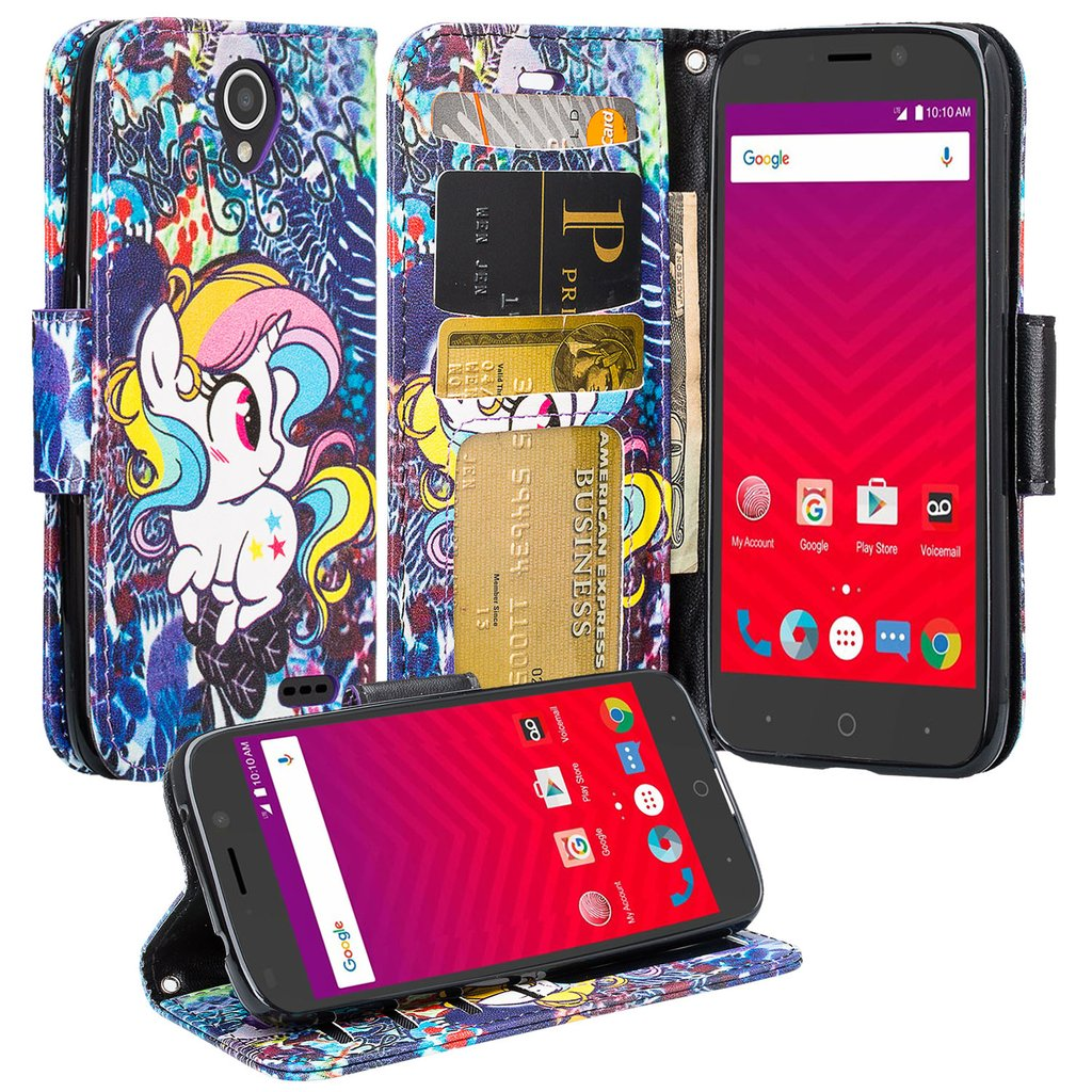 Luxury PU Leather Wallet for ZTE Maven 3 Case, ZTE Overture 3 Case, ZTE Prelude Plus Case, Flip Protective Case Cover with Card Slots and Stand - Rainbow Unicorn