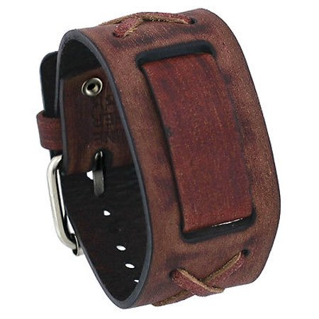 BFXB Faded Brown X Criss Cross Wide Leather Cuff Watch Wrist Band