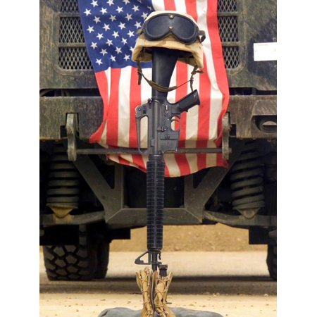 An M16-A2 Service Rifle, a Pair of Boots And a Helmet Stand in Tribute To a Fallen Soldier Print Wall Art By Stocktrek Images (Motorcycle Helmet And Boots)