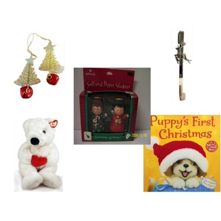 - Christmas Fun Gift Bundle [5 Piece] - Set of 2 Gold Tree w/ Star Jingle Bell Ornaments - Silver Reindeer Over The Door Wreath Hanger  - Hallmark Seasons Greetings Salt and Pepper Shaker Set - Ty Bea