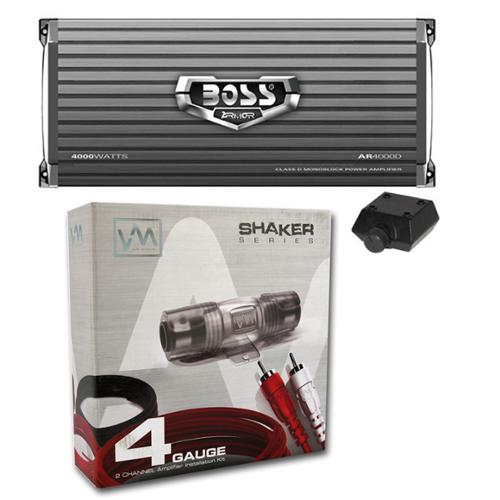 BOSS AR4000D 4000W Mono D Car Audio Amplifier Amp w/Remote + 4 Gauge Amp Kit Red