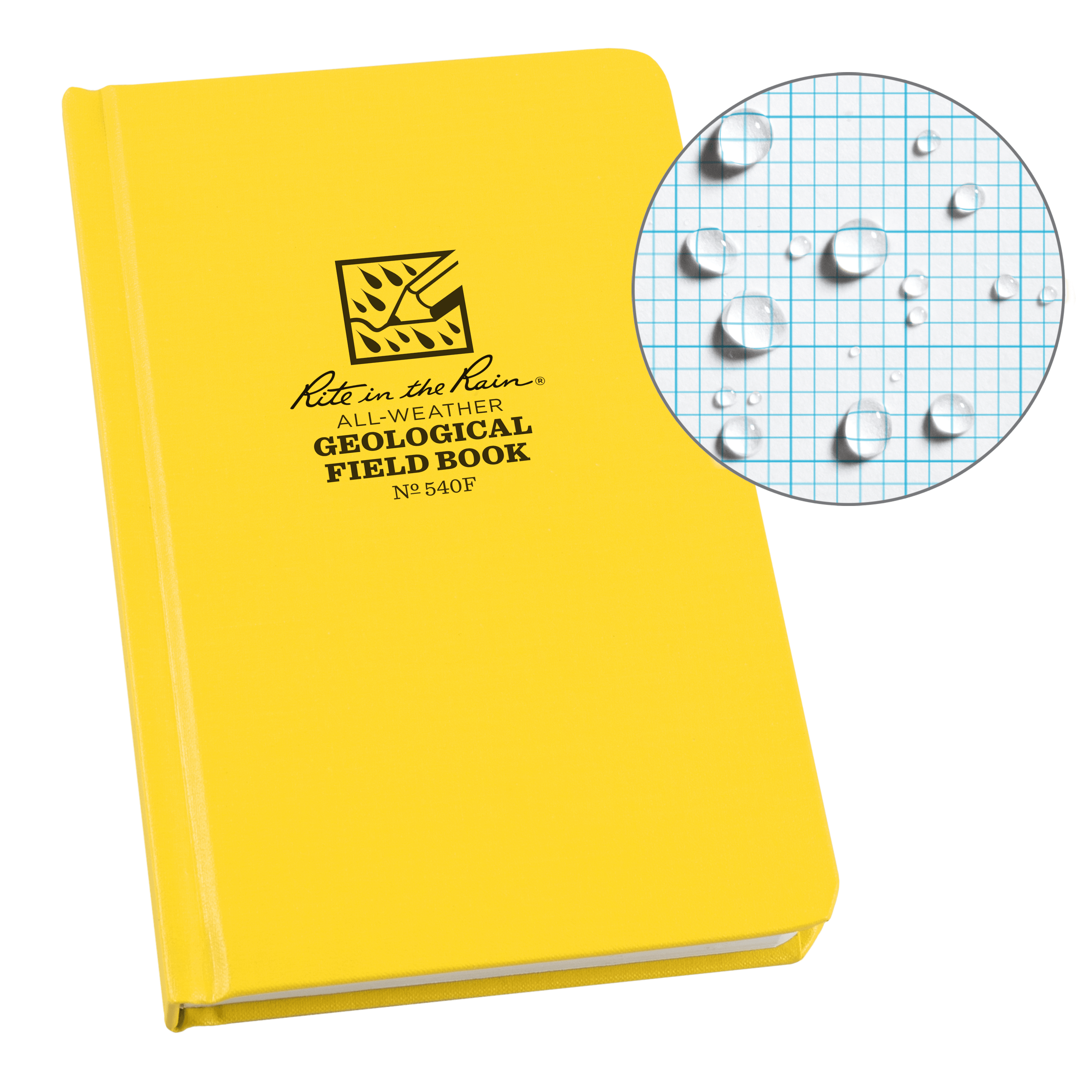 "Rite in the Rain All-Weather Hard Cover Notebook, 4 3/4"" x 7 1/2"", Yellow Cover, Geological Pattern (No. 540F)"