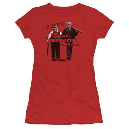 hot fuzz crime comedy buddy cop movie day's work juniors sheer t-shirt tee (Hot Female Cops)