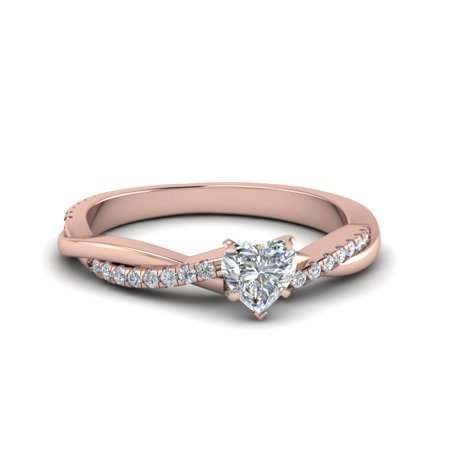 Infinity Engagement Rings For Women 0.60 Carat Heart Shaped GIA Certified Diamond In 14K Rose Gold