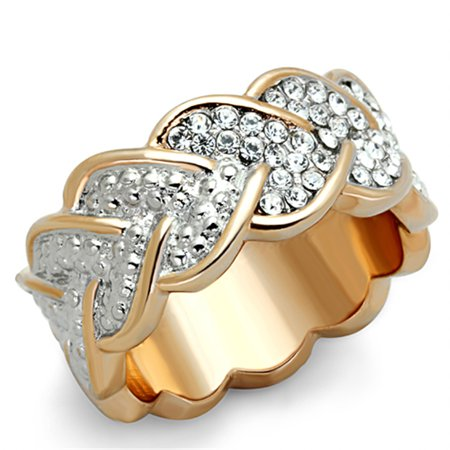 Rose Gold Plated Stainless Steel Crystal Hearts Eternity Fashion Ring Size 6