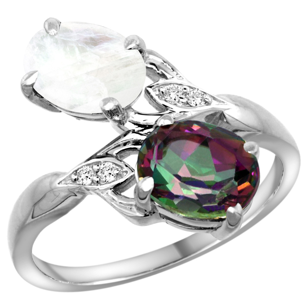 10K White Gold Diamond Natural Mystic Topaz & Rainbow Moonstone 2-stone Ring Oval 8x6mm, sizes 5 10 by WorldJewels