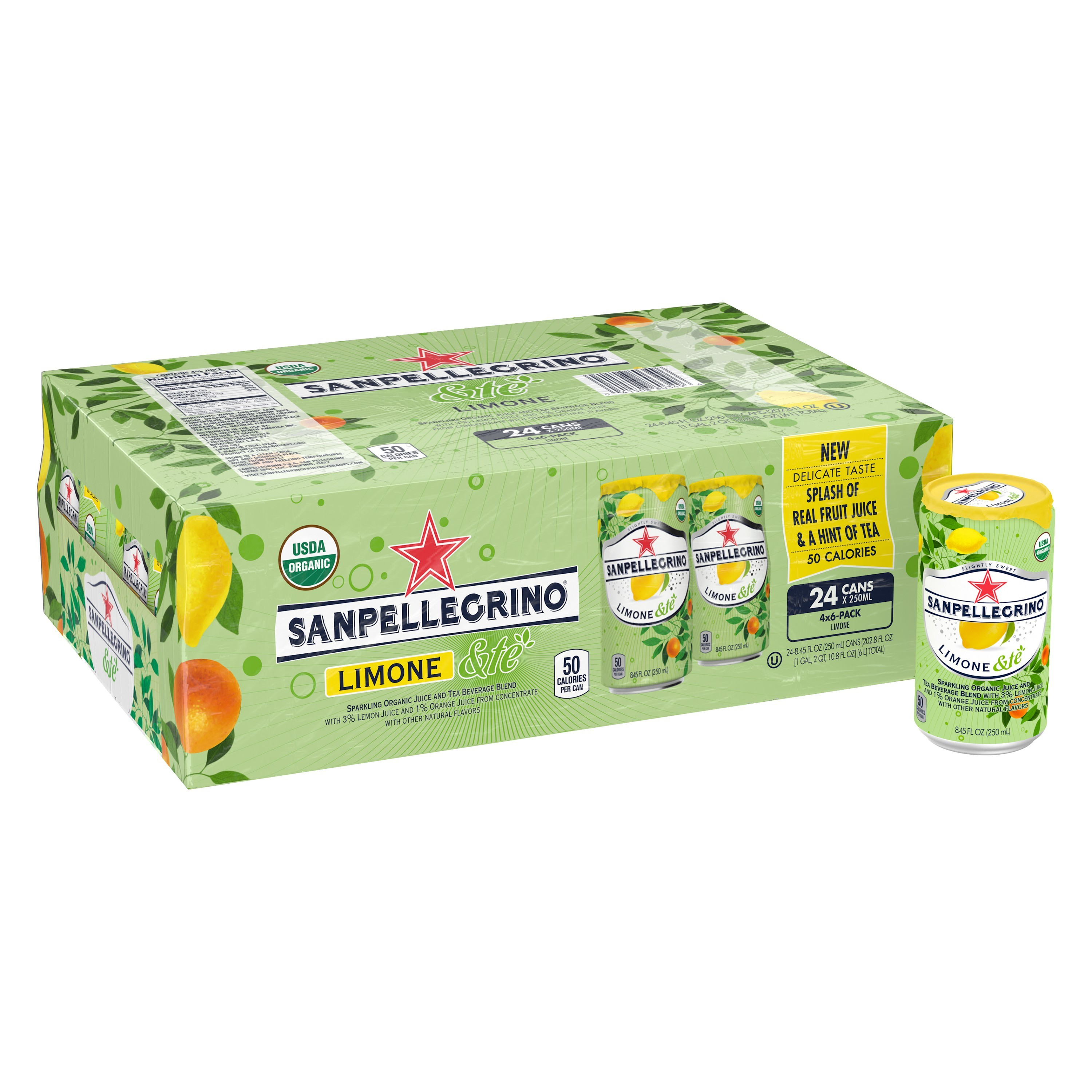 SANPELLEGRINO Limone &te Sparkling Organic Juice and Tea Beverage Blend 24-8.45 fl. oz. Cans