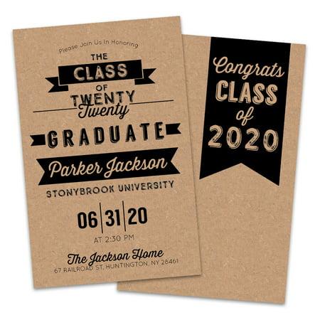 Personalized Kraft Graduation Party - Cheap Graduation Party Invitations
