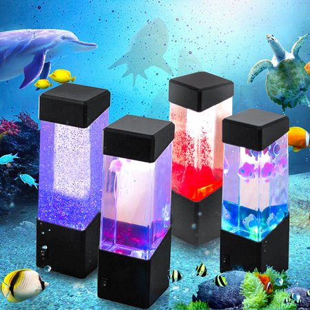 Double Sided Light Boxes (Novelty Lighting LED Nightlight Fish Tank Water Light Box Water Ball Aquarium Jellyfish Lamp Relaxing Mood Bedside Cabinet Lighting for Home Bedroom Decor Valentine's Birthday)