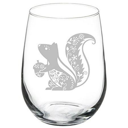 Wine Glass Goblet Fancy Squirrel (17 oz Stemless) ()