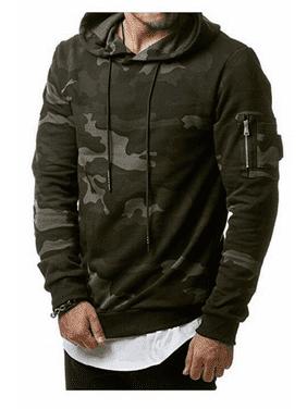 Autumn Winter Men Fleece Sweatshirt Fashion Camo Hooded Hoodies Blank Pullover Hoody Cotton Casual Male tops clothes