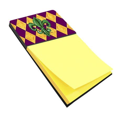 Mardi Gras Fleur de lis Purple Green and Gold Refiillable Sticky Note Holder or Postit Note Dispenser 8133SN