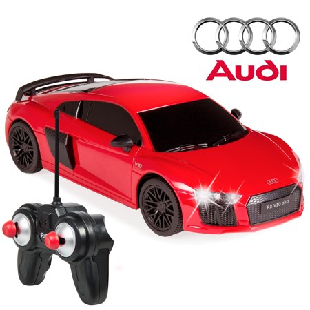Best Choice Products 1/24 Scale Officially Licensed RC Audi R8 Luxury Sport Remote Control Car w/ Lights, 27MHz Frequency - Red](Mickey Mouse Remote Control Car)