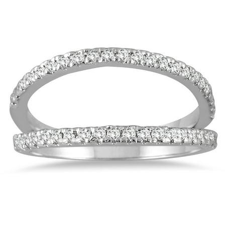 1/3 Carat TW Diamond Double Row Split Oyster Ring in 10K White - Diamond Double Row Ring