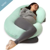 PharMeDoc Pregnancy Pillow with Jersey Cover (Mint Green) - C Shaped Body Pillow for Pregnant Women