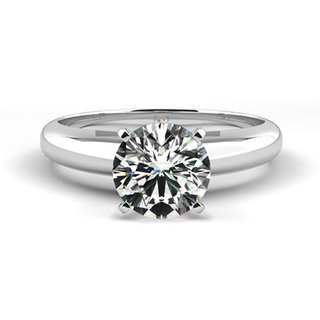 0.24 Carat Weight Solitaire Diamond Engagement Ring - 14K White Solid