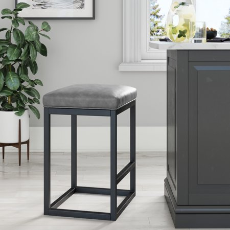 Amazing Nelson 24 Inch Bar Stool With Gray Leather Cushion And Black Metal Base Evergreenethics Interior Chair Design Evergreenethicsorg