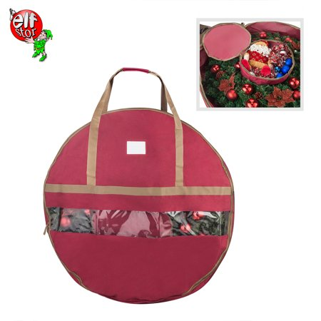 Red Holiday Wreath (Elf Stor Ultimate Red Holiday Christmas Wreath Storage Bag For 48