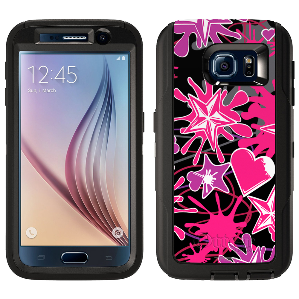 SKIN DECAL FOR Otterbox Defender Samsung Galaxy S6 Case - Heart Stars Splatter on Black DECAL, NOT A CASE