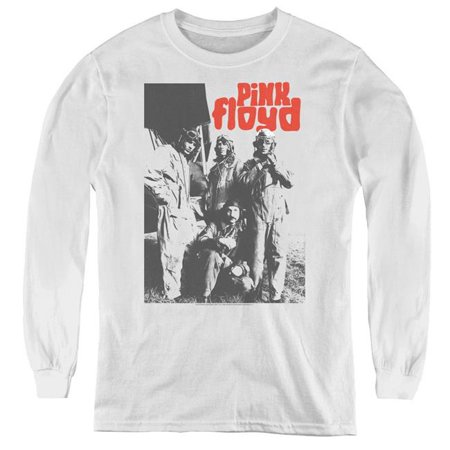 Trevco Sportswear PERRY247-YL-1 Pink Floyd & Point Me at The Sky Youth Long Sleeve Tee Shirt, White - (Pink Floyd Point Me At The Sky)