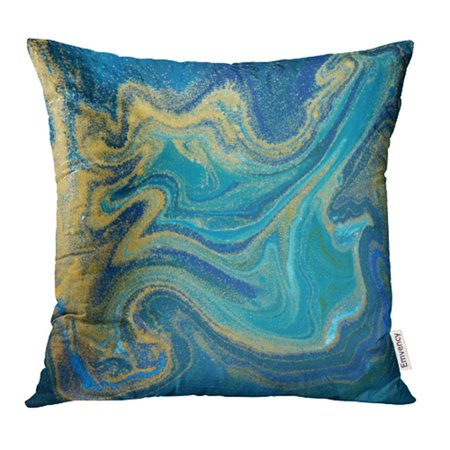 YWOTA Paint Blue Green and Gold Liquid Marbling Ink Marble Abstract Pattern Aqua Nature Pillow Cases Cushion Cover 20x20 inch