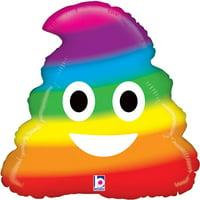 """Emoji Rainbow Poo Foil Balloon 20"""""""