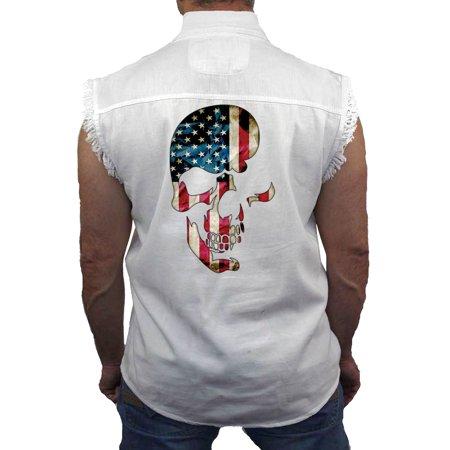 Skull Sleeveless Denim (Men's Sleeveless Denim Shirt USA Flag Skull Americana)