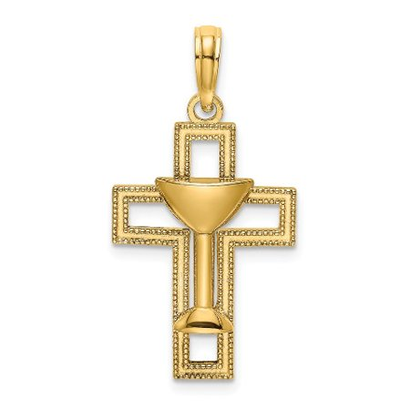 Roy Rose Jewelry 14K Yellow Gold Polished Cross With COMMUNION CUP Charm Pendant 14k Gold Communion Charm