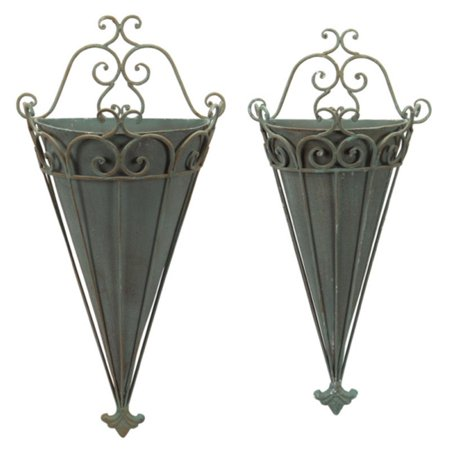 Set Of 2 Antique Gray Scrolled Metal Flower Pot Wall Sconces 29