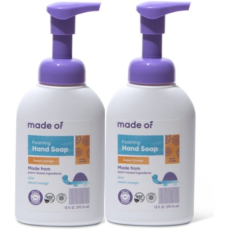 (Pack of 2) MADE OF Foaming Organic Castile Hand Soap, NSF Organic and EWG Verified, Sweet Orange, 10 Oz 10 Oz Moisturizing Hand Wash
