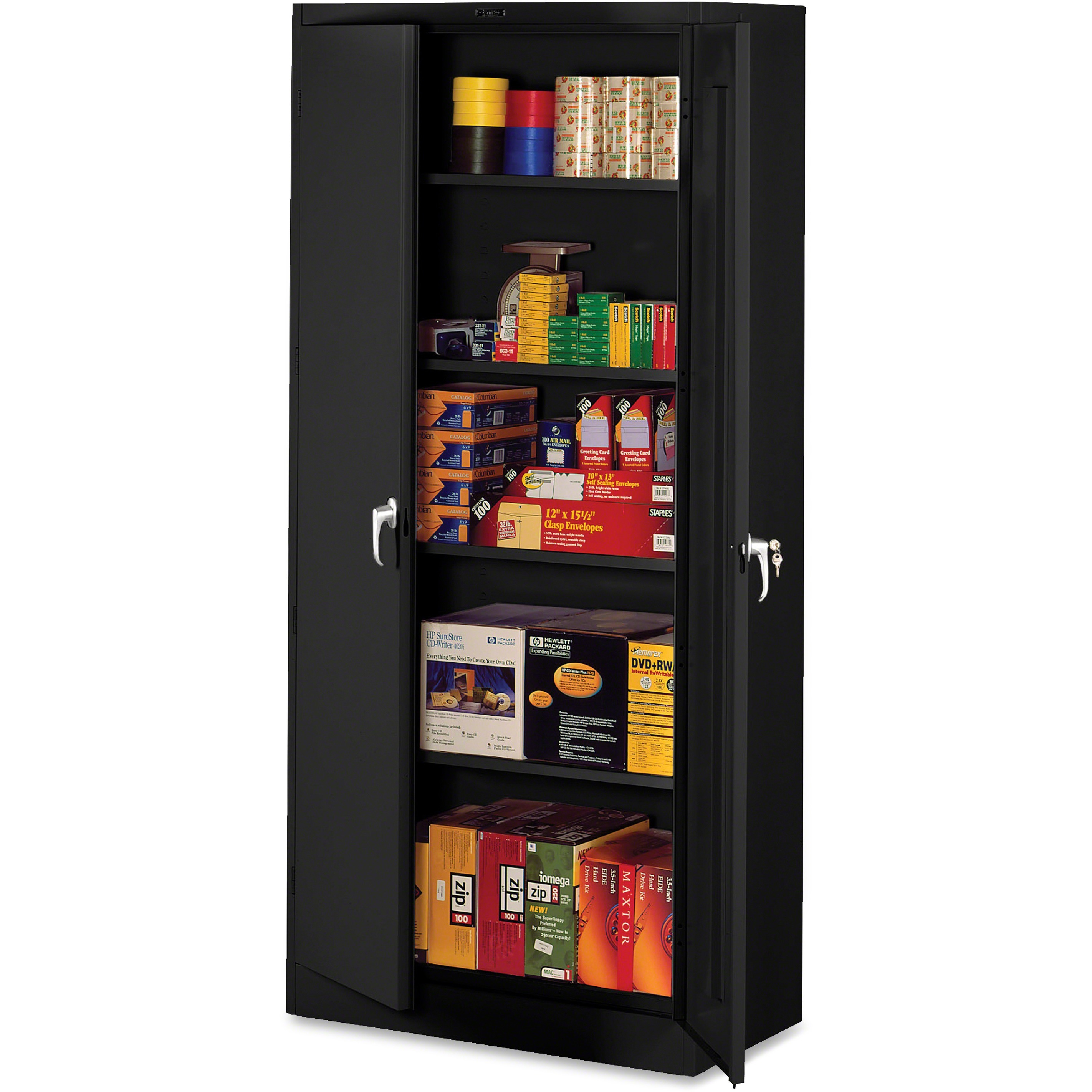 Tennsco, TNN1870BK, Black Deluxe Storage Cabinet, 1 Each, Black,Brushed Chrome - Handle