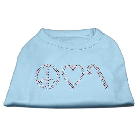 Peace, Love, and Candy Canes Shirts Baby Blue M (12) - Blue Candy Canes