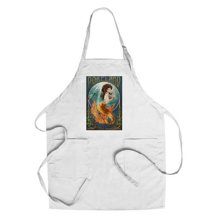 Portland   Mermaid   Lantern Press Poster  Cotton Polyester Chefs Apron