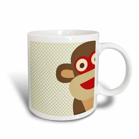3dRose Sock Monkey Peeking Around Corner - Cute Animal Art, Ceramic Mug, 15-ounce
