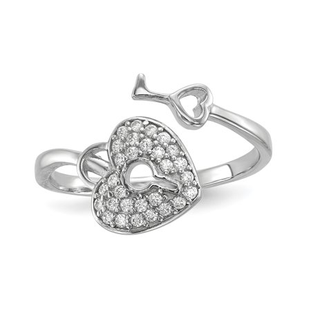 925 Sterling Silver Cubic Zirconia Cz Heart Lock Key Band Ring Size 8.00 Fine Jewelry For Women Gift Set (Lock And Key Halloween Costume)