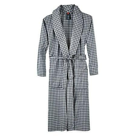 Big And Tall Plaid Robe - Hanes Men's Big & Tall Black Woven Shawl Collar Robe (3X/4X Tall, Black Plaid)